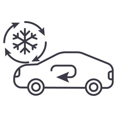 klimatyzacja, ikona linii wektor usługi samochodu, znak, ilustracja na białym tle, edytowalne obrysy Ilustracje wektorowe