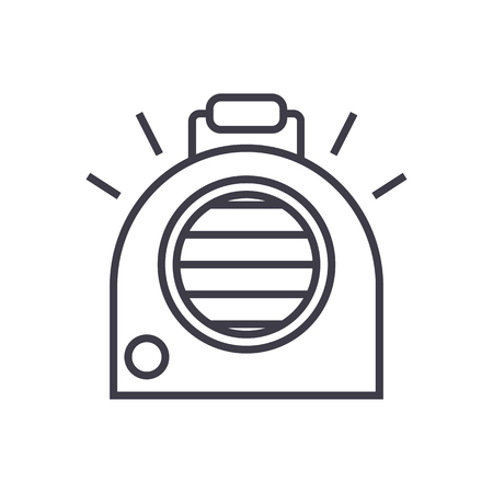 air conditioning, portable heater vector line icon, sign, illustration on white background, editable strokes Illustration