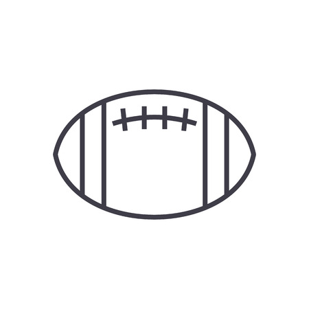 american football vector line icon, sign, illustration on white background, editable strokes