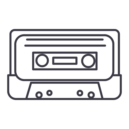 audio tape vector line icon, sign, illustration on white background, editable strokes