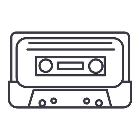 Icona della linea di vettore del nastro audio, segno, illustrazione su fondo bianco, colpi editabili Archivio Fotografico - 87221320