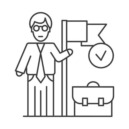 숙달 된 비즈니스 임무 벡터 라인 아이콘, 기호, 흰색 배경에 그림 편집 가능한 획 일러스트