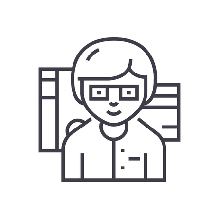 accountant vector line icon, sign, illustration on white background, editable strokes