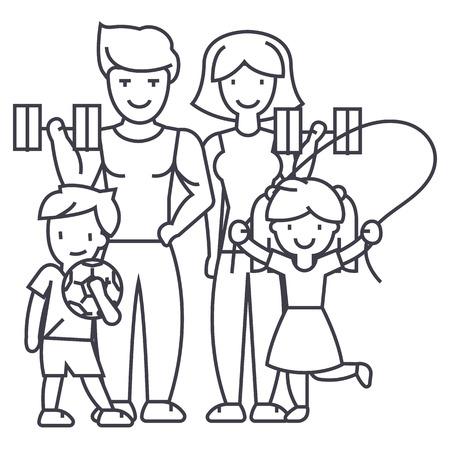 アクティブな幸せ家族のスポーツ ジム ベクトル線アイコン、記号、白い背景に、編集可能なストロークの図