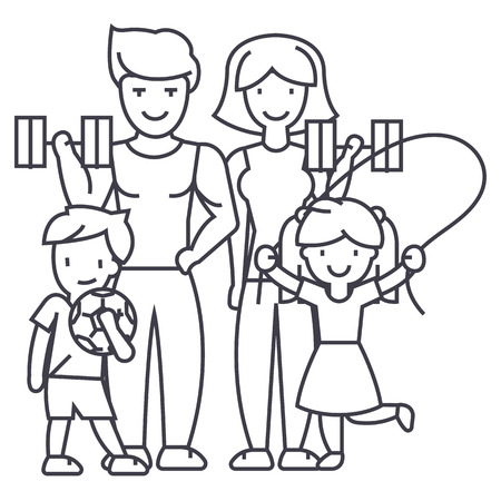 active happy family in sport gym vector line icon, sign, illustration on white background, editable strokes