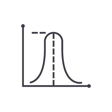 평균 최대 그래프 벡터 라인 아이콘, 기호, 흰색 배경에 그림 편집 가능한 획 일러스트