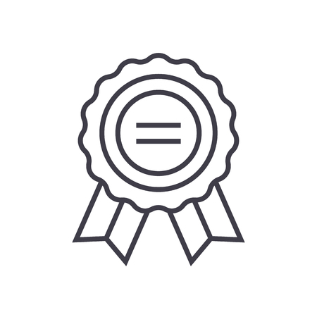 award vector line icon, sign, illustration on white background, editable strokes