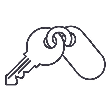 apartment keys  vector line icon, sign, illustration on white background, editable strokes