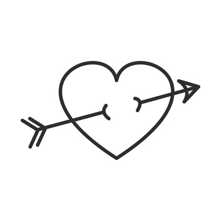 arrow in heart vector line icon, sign, illustration on white background, editable strokes