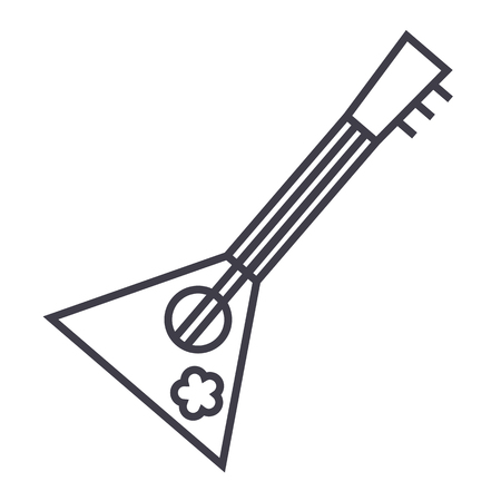 balalaika 벡터 라인 아이콘, 기호, 흰색 배경에 그림 편집 가능한 획