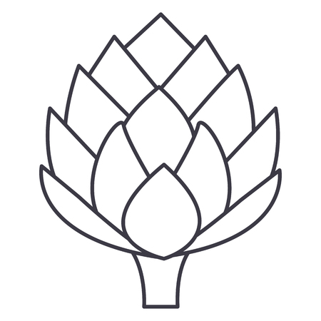 artichoke vector line icon, sign, illustration on white background, editable strokes
