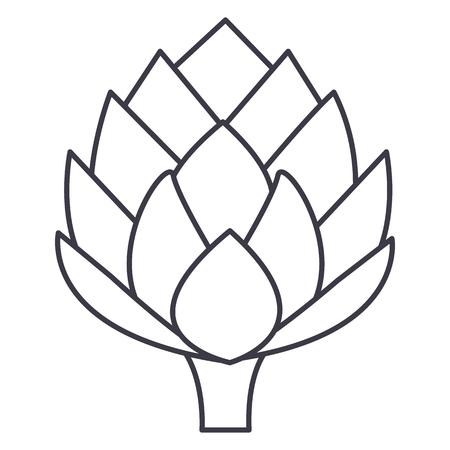 Artisjok vector lijn pictogram, teken, illustratie op een witte achtergrond, bewerkbare streken