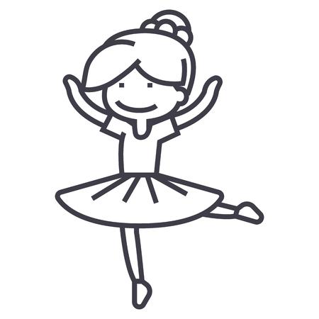 バレリーナ少女、バレット ダンサー ベクトル線アイコン、記号、白い背景に、編集可能なストロークの図  イラスト・ベクター素材