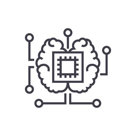 인공 지능, 뇌와 칩 벡터 선 아이콘, 기호, 흰색 배경 그림 편집 가능한 획