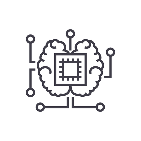 artificial intelligence, chip with brain vector line icon, sign, illustration on white background, editable strokes Иллюстрация