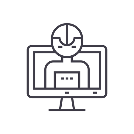 artificial intelligence, computer vector line icon, sign, illustration on white background, editable strokes