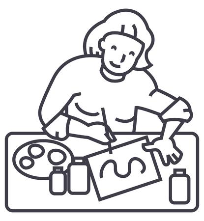 artist,illustrator, woman vector line icon, sign, illustration on white background, editable strokes Illustration
