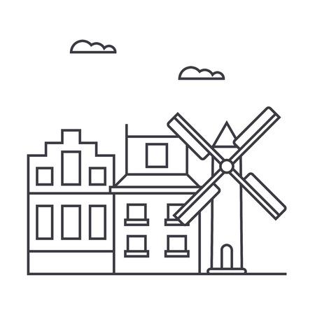 アムステルダム ベクトル線アイコン、記号、白い背景に、編集可能なストロークの図