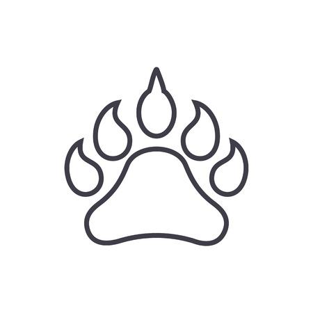 동물 풋 프린트 벡터 라인 아이콘, 기호, 흰색 배경에 그림 편집 가능한 획 일러스트