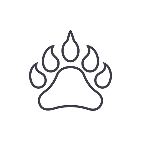 animal footprint vector line icon, sign, illustration on white background, editable strokes