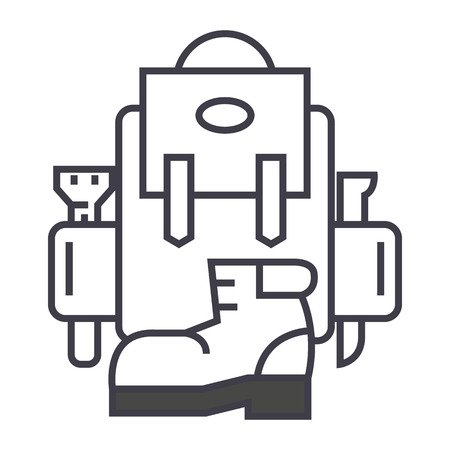 backpack, active travel, camping, boots vector line icon, sign, illustration on white background, editable strokes