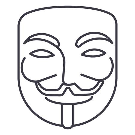 anoniem, masker carnaval, hacker vector lijn pictogram, teken, illustratie op witte achtergrond, bewerkbare lijnen