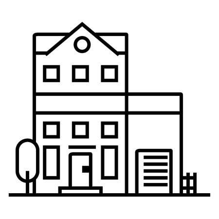 apartment building vector line icon, sign, illustration on white background, editable strokes