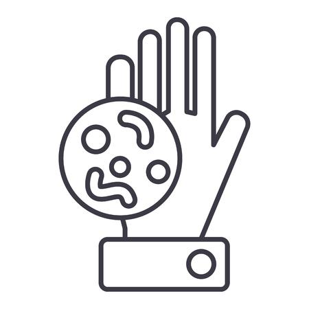 細菌、汚れた手ベクトル線アイコン、記号、白い背景に、編集可能なストロークの図 写真素材 - 87221369