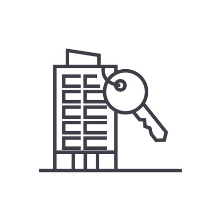 apartment house with key vector line icon, sign, illustration on white background, editable strokes