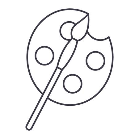 kunst, verven en penseel vector lijn pictogram, teken, illustratie op witte achtergrond, bewerkbare lijnen