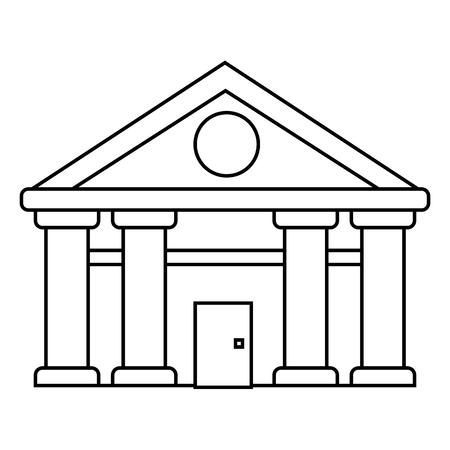 bank, Hof van Justitie vector lijn pictogram, teken, illustratie op witte achtergrond, bewerkbare lijnen