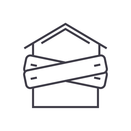 real estate sold: bankruptcy,boarded-up house vector line icon, sign, illustration on white background, editable strokes Illustration