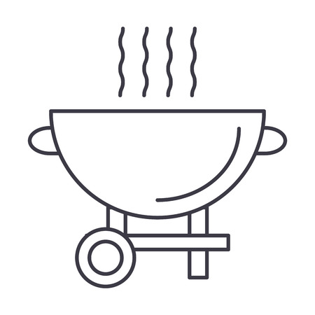 barbecue grill vector line icon, sign, illustration on white background, editable strokes