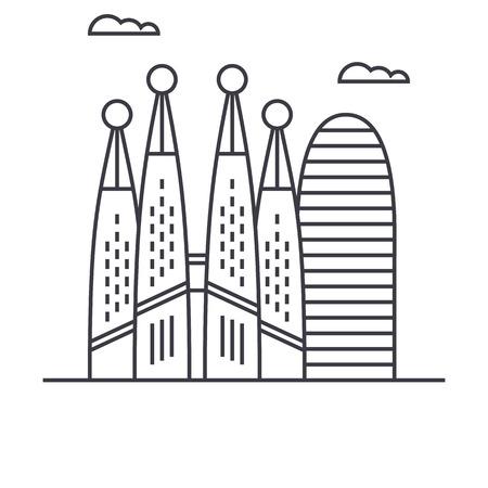바르셀로나 벡터 라인 아이콘, 기호, 흰색 배경에 그림 편집 가능한 획 일러스트