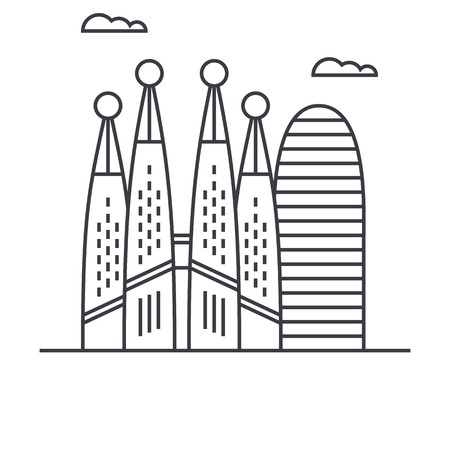 barcelona vector line icon, sign, illustration on white background, editable strokes