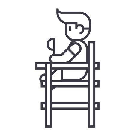 아기 높은 자에 앉아 벡터 라인 아이콘, 기호, 흰색 배경에 그림 편집 가능한 획 일러스트