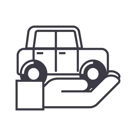 auto insurance,car in hand vector line icon, sign, illustration on white background, editable strokes