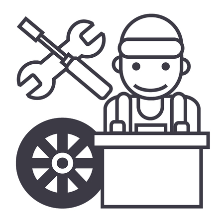 car wash: auto mechanic,battery wheel,screwdriver and wrench vector line icon, sign, illustration on white background, editable strokes