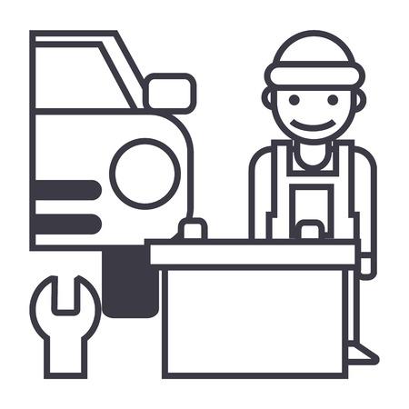 auto service vector line icon, sign, illustration on white background, editable strokes Illustration