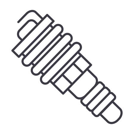 auto spark vector line icon, sign, illustration on white background, editable strokes Illustration