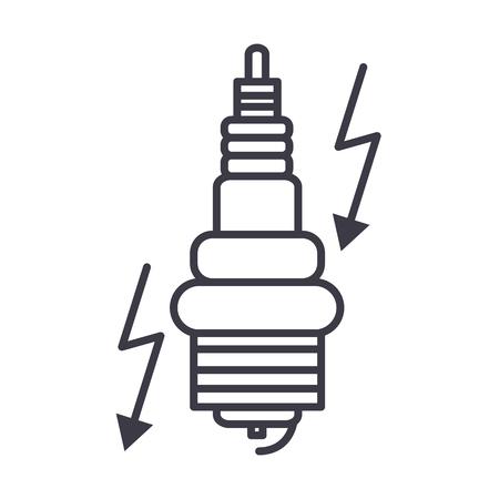 자동차 점화 벡터 라인 아이콘, 기호, 흰색 배경에 그림 편집 가능한 획