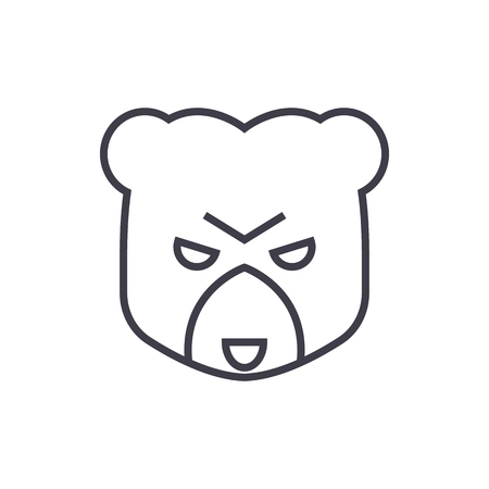 bear head sign vector line icon, sign, illustration on white background, editable strokes