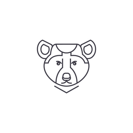 bear illustration vector line icon, sign, illustration on white background, editable strokes