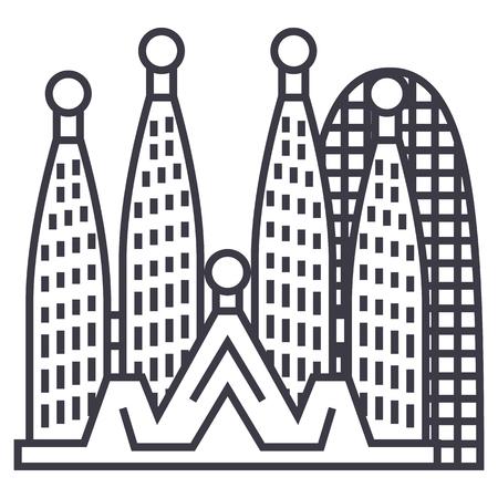 Barcelona, sagrada familia vector lijn pictogram, teken, illustratie op witte achtergrond, bewerkbare lijnen