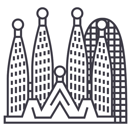 barcelona,sagrada familia vector line icon, sign, illustration on white background, editable strokes