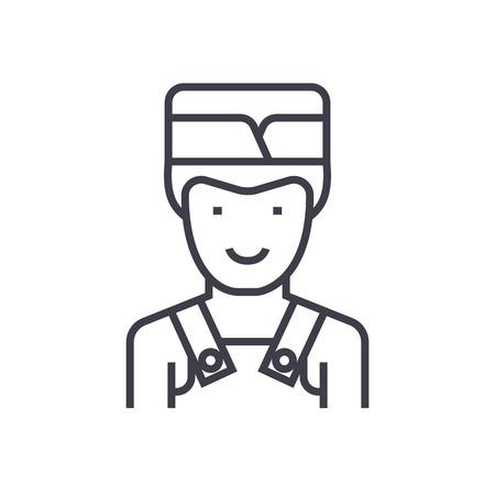 barman vector line icon, sign, illustration on white background, editable strokes