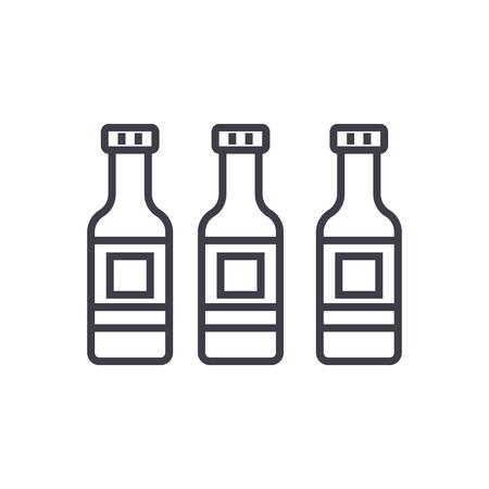 beer bottle vector line icon, sign, illustration on white background, editable strokes Illustration