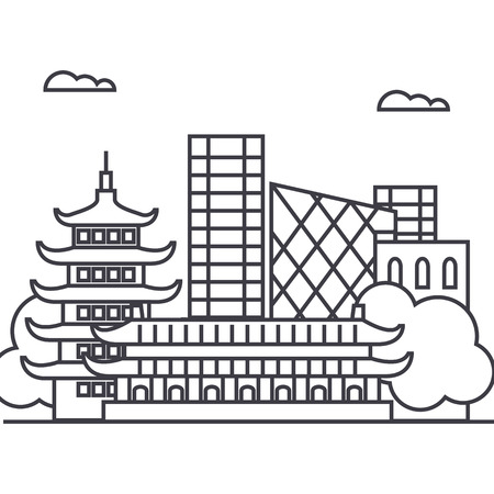 beijing, china vector line icon, sign, illustration on white background, editable strokes