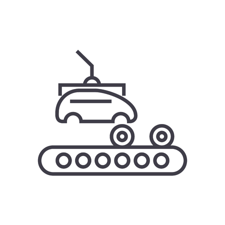 assembly car, conveyor vector line icon, sign, illustration on white background, editable strokes Ilustrace