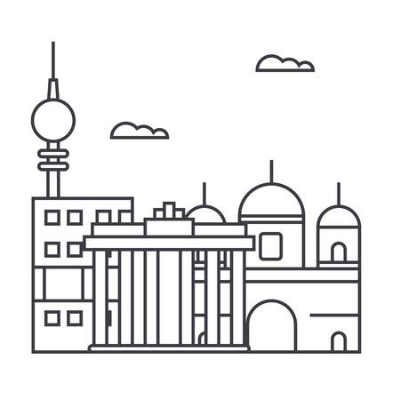 Icona di linea di vettore di Berlino, segno, illustrazione su sfondo bianco, colpi modificabili Archivio Fotografico - 87221419
